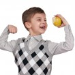 Boy with apple — Stock Photo