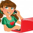 Brown-haired girl with phone and red laptop - Stock Vector