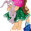 Girl with bunny and bag - Stock Vector