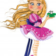 Little blond princess in pink dress with frog - Stock Vector