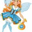Stock Vector: Little tooth fairy with bag of tooth with wings