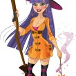 Young witch with magic wand and broom - Stock Vector