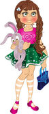 Girl with bunny and bag — Stock Vector