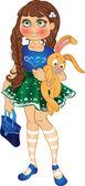 与黄色小兔子和袋女孩 — 图库矢量图片