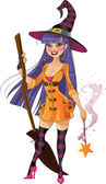 Young witch with magic wand and broom — Vector de stock