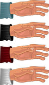Male hand in color shirt — Vector de stock