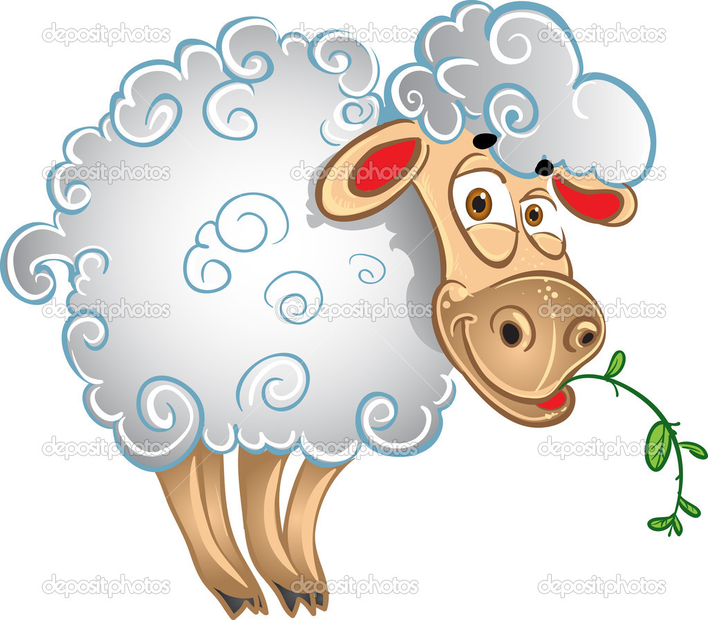 Bright sheep with blade of grass  Stock Vector #4062125