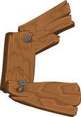 Alfabeto de madera - letra c sobre fondo blanco — Vector de stock