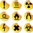 Stock Vector: stock color vector glossy stickers with warning signs set 1