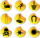 Stock color vector glossy stickers with warning signs set 2 — Stock Vector