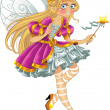 Fairy in pink dress with wings — Stock Vector