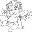 Royalty-Free Stock Vector Image: Fun cupid with box of candy black outline for coloring
