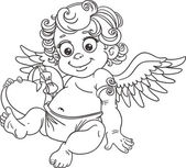 Fun cupid with box of candy black outline for coloring — Vecteur