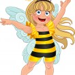 Stock Vector: Small girl in carnival suit bee
