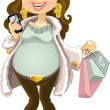Pregnant woman in winter wear with phone and shopping bag - Stock Vector