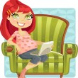 Pregnant woman online shopper in green armchair