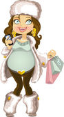 Pregnant woman in winter wear with phone and shopping bag — Stock Vector