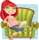 Pregnant woman online shopper in green armchair — Stock Vector