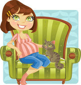 Pretty pregnant woman with cat in green armchair — Stock Vector