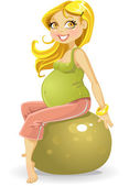 Pregnant woman at gym ball — Stock Vector