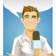 Stock Vector: Young reporter men