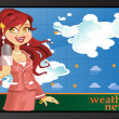 Stock Vector: Reporter girl in pink tell weather news
