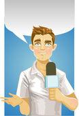 Young reporter men — Stock Vector