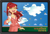 Reporter girl in pink tell weather news — Stock Vector