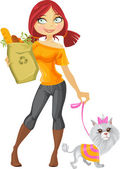 Pretty red haired girl with small dog and health food — Stock Vector