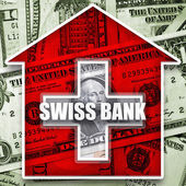 Money in swiss bank — Stock Photo