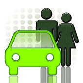 Car and couple — Stock Photo