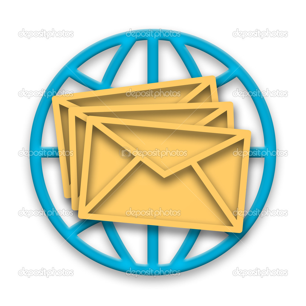 Mail messages in envelopes and blue globe over white background — Foto Stock #4927499