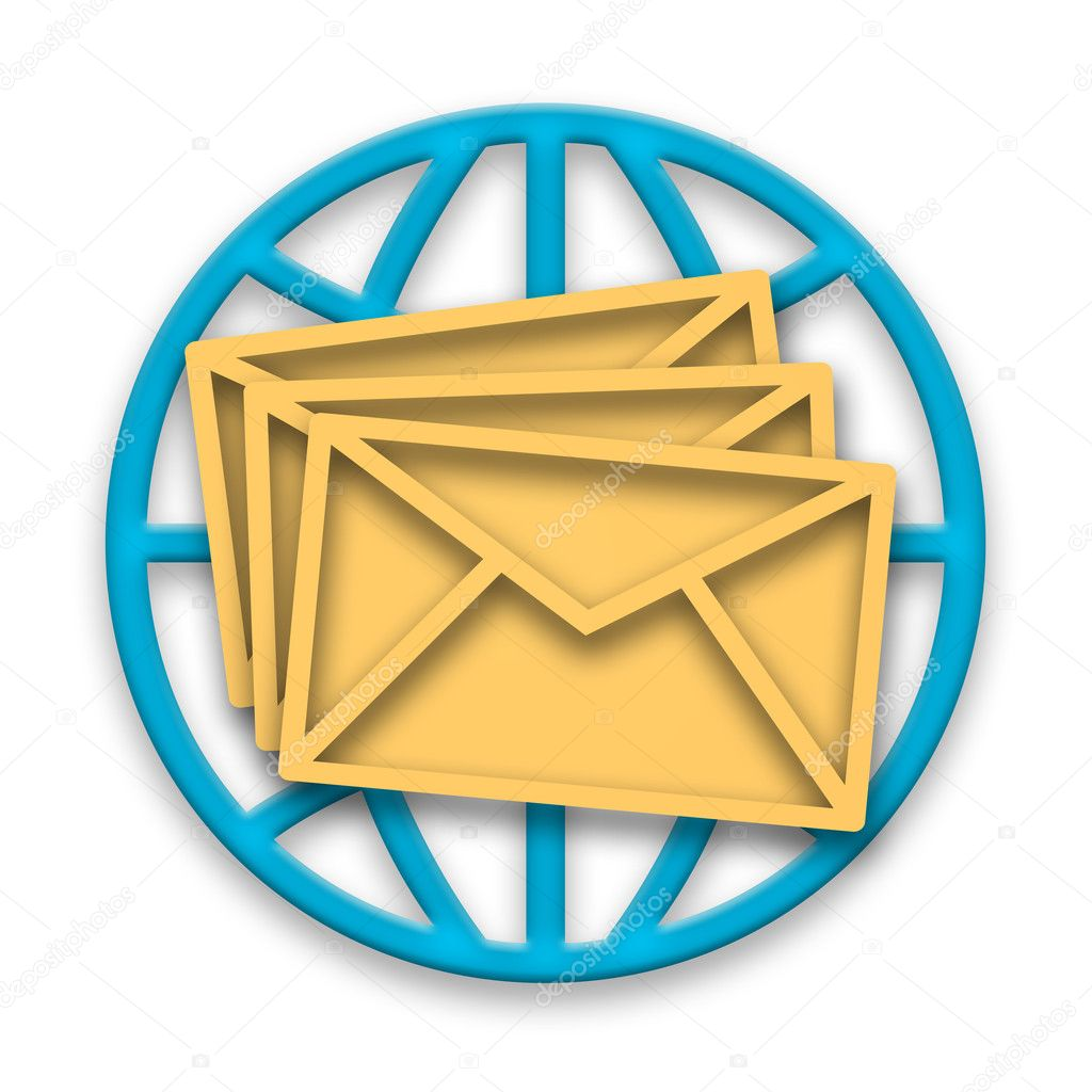Mail messages in envelopes and blue globe over white background — Stock Photo #4927499