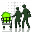 Consumers with green house in shopping cart — Stock Photo #4973090