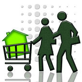 Consumers with green house in shopping cart — Stock Photo