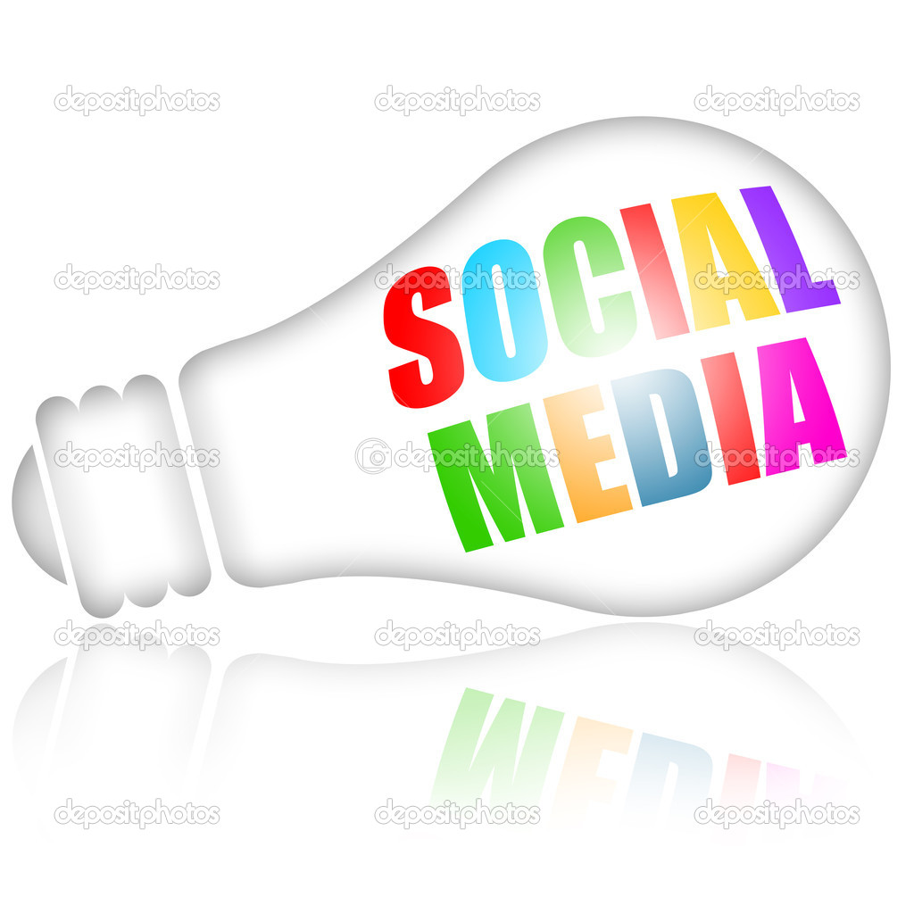 Social media concept with colorful letters on bright electric lamp isolated over white background  Stock Photo #5207286