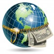 Globe with dollar - Stock Vector