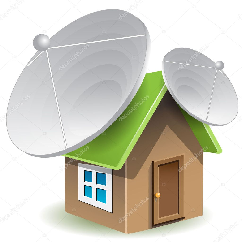 Illustration, house with two satellite dishes on roof — Stock Vector #4696517
