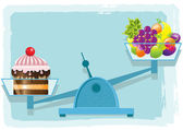 Fruits and cake — Stock Vector