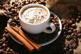 Cup of coffee with cream and cinnamon — Stock Photo