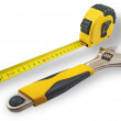 Tape measure and spanners — 图库照片