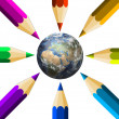 Crayons and the Earth — Stock Photo #4004607