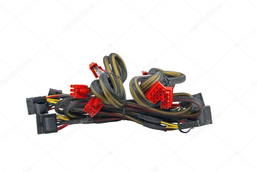 Computer's power supplies Cables isolated on white — Stock Photo #4877427