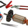 Stock Photo: Electric motor rotor and tools for home electrical repair