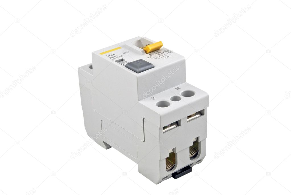 Automatic circuit breaker, isolated on a white background — Stock Photo #5032729