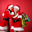 Wo happy young Santa girl talking — Stock Photo #3926542