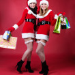 Two women in dressed as Santa, with shopping bags . — Стоковое фото