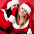 Wo happy young Santa girl talking — Stock Photo