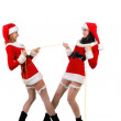 Two sexual girls in Christmas clothes . — Stock Photo