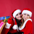 Two women in dressed as Santa, with shopping bags . — Stock Photo #3947488